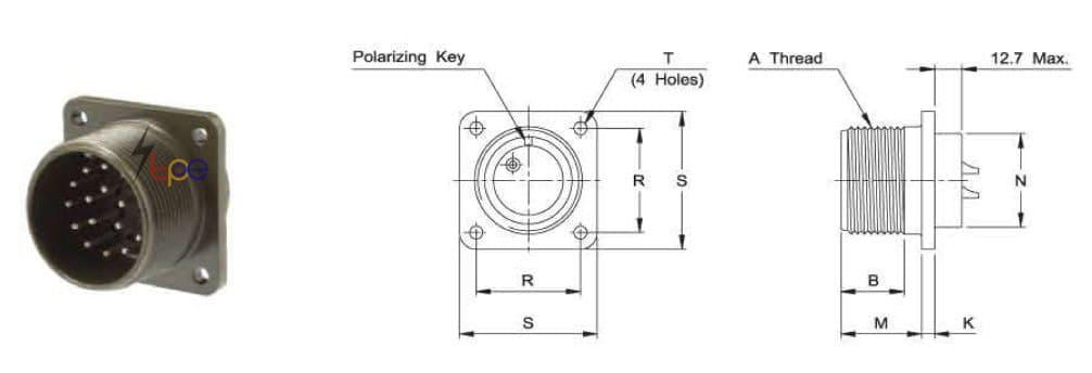 คอนเนคเตอร์แบบกลม รุ่น I/MS3102A or E Box Mounting Receptable