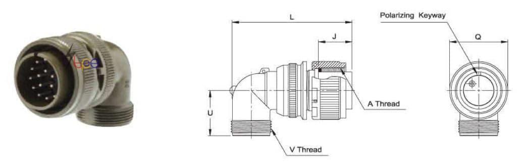 คอนเนคเตอร์แบบกลม รุ่น I/MS3108A or R Right Angle Plug