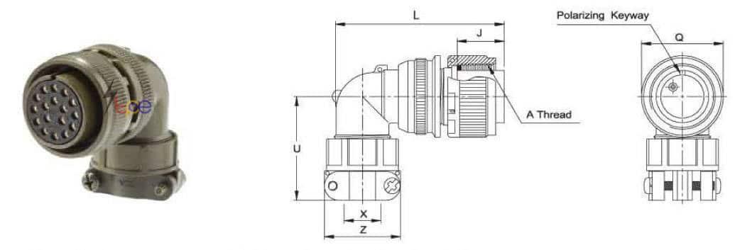 คอนเนคเตอร์แบบกลม รุ่น I/MS3108E or F Right Angle Plug