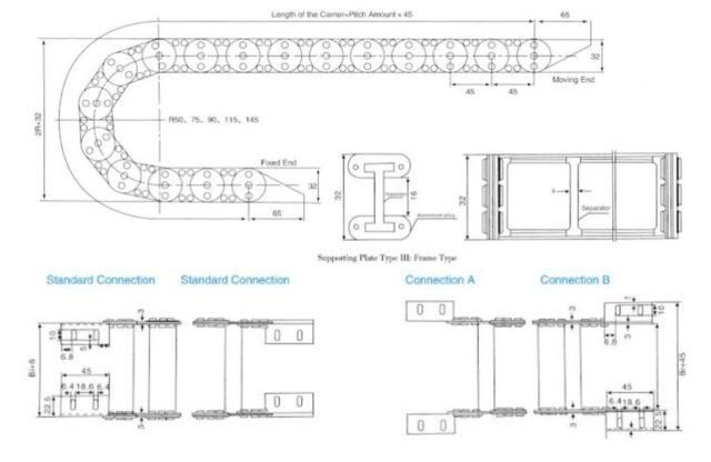 รางกระดูกงูเหล็ก TL45 (Cable Drag Chain TL45)