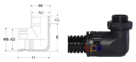ข้อต่อแบบงอ ข้อต่อท่อร้อยสายไฟพลาสติกแบบงอ (Quick Fitting 90 Angle for flexible plastic)