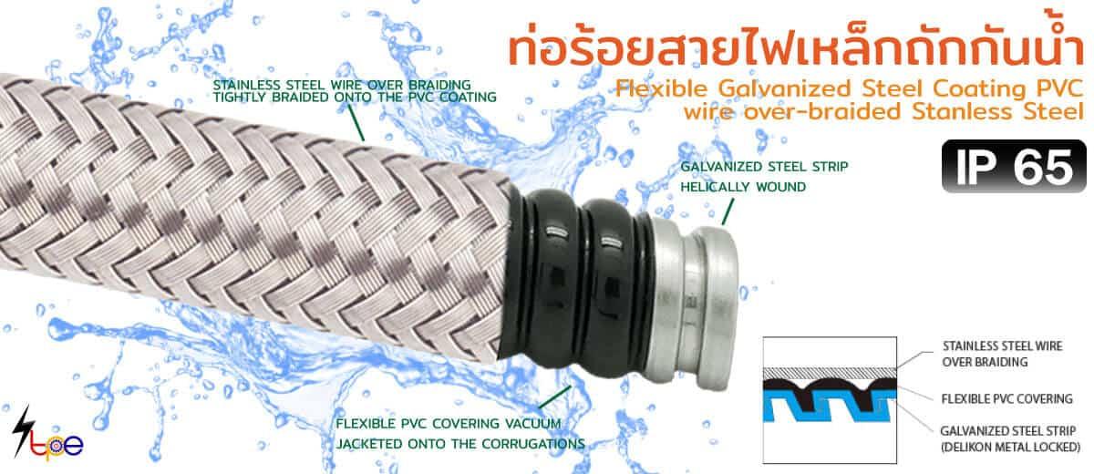 ท่อร้อยสายไฟเหล็กถักกันน้ำ (Flexible Galvanized Steel Coating PVC wire over-braided Stanless Steel)