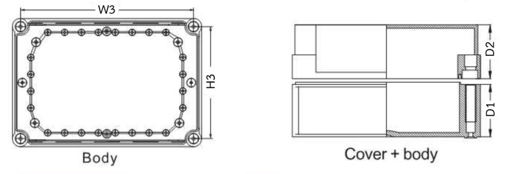 Dimension กล่องพักสายไฟพลาสติก กันน้ำ