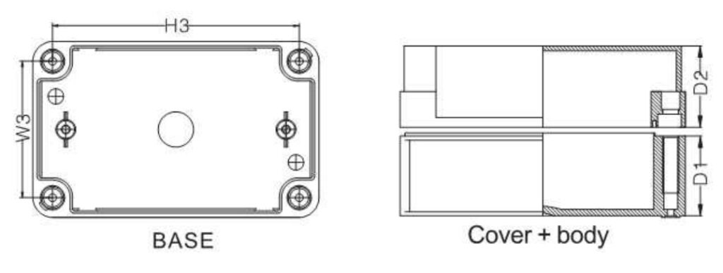 Dimension กล่องพักสายไฟพลาสติก